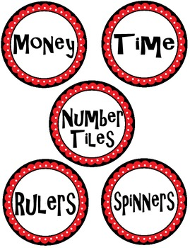 Math Manipulative Supply Labels Red, Black, and White Fancy Circle