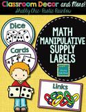 Math Manipulative Supply Labels- Shabby Chic Rustic Rainbow burlap decor