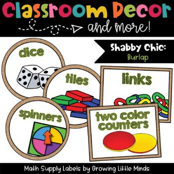 Math Manipulative Supply Labels- Shabby Chic burlap decor