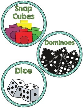 Math Manipulative Supply Labels- aqua