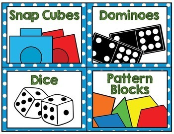 Math Manipulative Supply Labels- blue