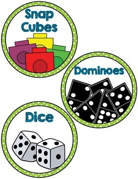 Math Manipulative Supply Labels- green