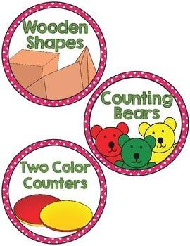 Math Manipulative Supply Labels- pink