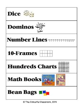 Math Manipulative Labels with Pictures