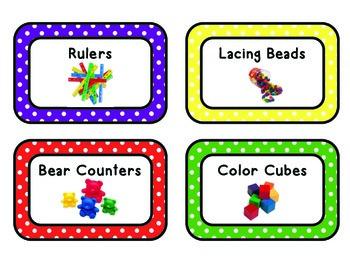 Math Manipulative Tub Labels