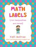 Math Manipulative and Game Storage Labels {FREE!}