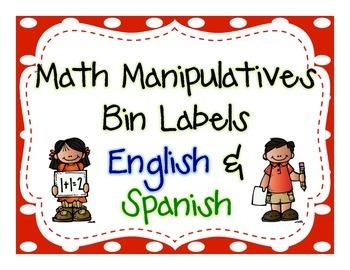 Math Manipulatives Bin Labels- English & Spanish (blue/green)