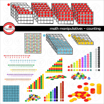 Math Manipulatives - Counting Clipart by Poppydreamz (COLOR AND LINE ART)