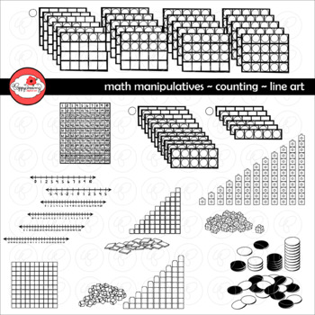 Math Manipulatives - Counting Clipart by Poppydreamz (LINE ART ONLY)