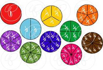 Math Manipulatives - Fractions Clipart by Poppydreamz (COLOR ONLY)