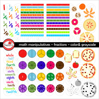 Math Manipulatives - Fractions Clipart by Poppydreamz (COLOR & LINE ART)