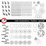 Math Manipulatives - Fractions Clipart by Poppydreamz (GRAYSCALE/LINE ART ONLY)
