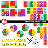 Math Manipulatives - Games Clipart Set by Poppydreamz (COLOR AND LINE ART)