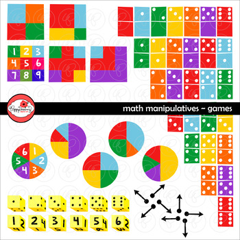 Math Manipulatives - Games Clipart Set by Poppydreamz (COL