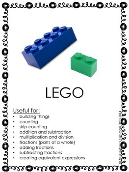 Math Manipulatives Identification Posters with Pictures and How to Use Them