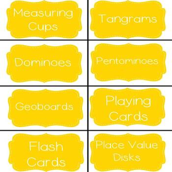 Math Manipulatives Labels!