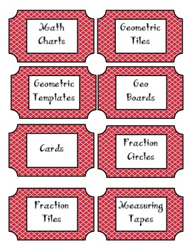 Math Manipulatives Labels