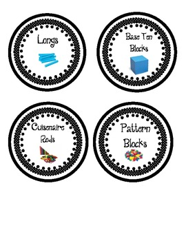 Math Manipulatives Labels- Black and White