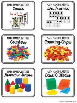 Math Manipulatives Labels FREEBIE