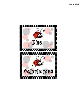 Math Manipulatives Labels - Ladybug Themed