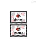 Math Manipulatives Labels - Ladybug Themed