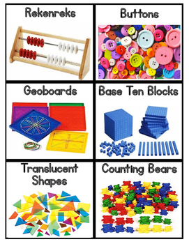 Math Manipulatives Labels with Visuals