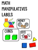 Math Manipulatives Lables