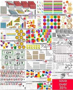 Math Manipulatives MEGA BUNDLE by Poppydreamz (COLOR AND LINE ART)