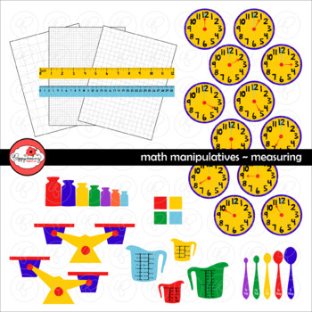 Math Manipulatives - Measuring &  Data Clipart by Poppydreamz (COLOR & LINE ART)