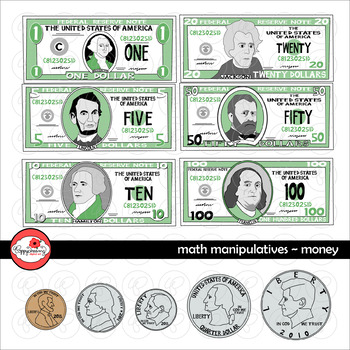 Math Manipulatives - Money Clipart Set by Poppydreamz (COLOR AND LINE ART)