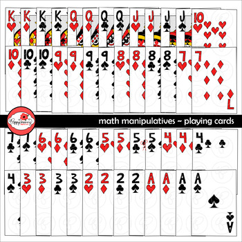 Math Manipulatives - Playing Cards Clipart by Poppydreamz (COLOR AND LINE ART)