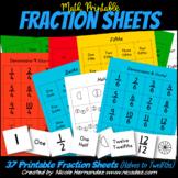 Math Manipulatives - Printable Fraction Sheets