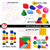 Math Manipulatives - Shapes Clipart by Poppydreamz (COLOR & LINE ART)