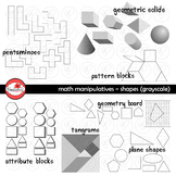 Math Manipulatives - Shapes Clipart by Poppydreamz (GRAYSCALE/LINE ART ONLY)