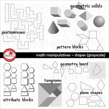 Math Manipulatives - Shapes Clipart by Poppydreamz (GRAYSC