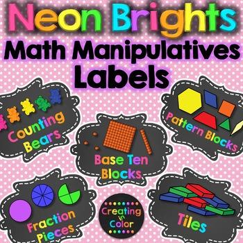 Math Manipulatives Supply Labels - Neon Brights Chalkboard