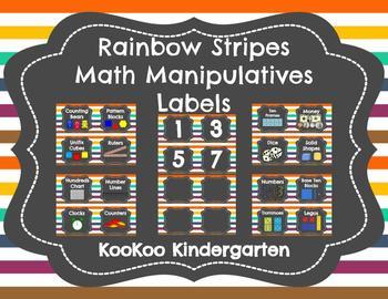 Math Manipulatives and Bin Labels (Chalkboard Rainbow Stripes)