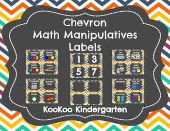 Math Manipulatives and Bin Labels (Chevron with Chalkboard)