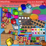 Math Manipulatives bundle clip art -Color and B&W. 186 items!