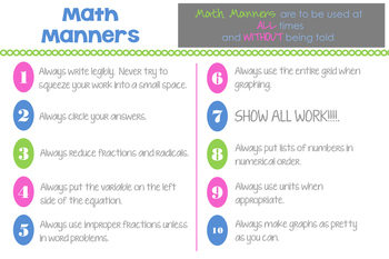 Math Manners Poster