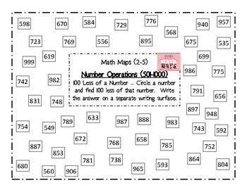 Math Maps:  Finding 100 Less of a Number (MAFS)