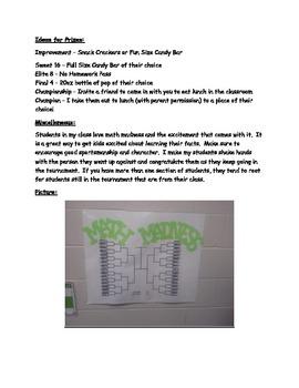 Math (March) Madness - Math Fact Fluency Tournament Game