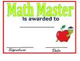 Math Master Certificate: Personality Awards
