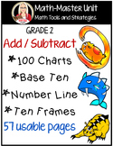 MATH STATIONS: ADD SUBTRACT base ten, hundred chart, number line, ten frame