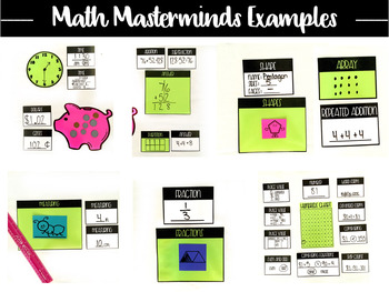 Math Masterminds Calendar and Math Warm Up Bulletin Board Set Editable