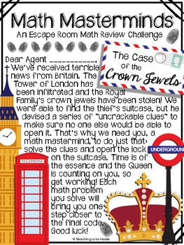 Math Masterminds Escape Room Math Review - The Case of the Crown Jewels