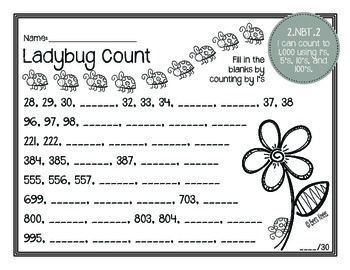Math Masters: 2nd Grade Common Core Printables 2.NBT.2: Counting to 1,000
