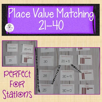 Place Value Matching Game Numbers 21-40 | Identifying Numbers 21-40