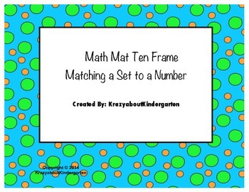 Math Mat Matching a number to a Set Using Ten Frames