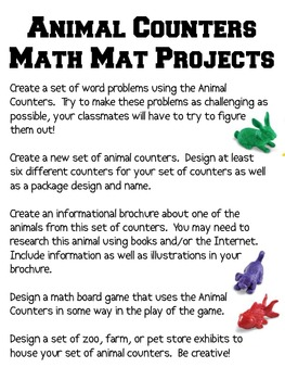 Math Mat Review Activity:  ANY Animal Counters